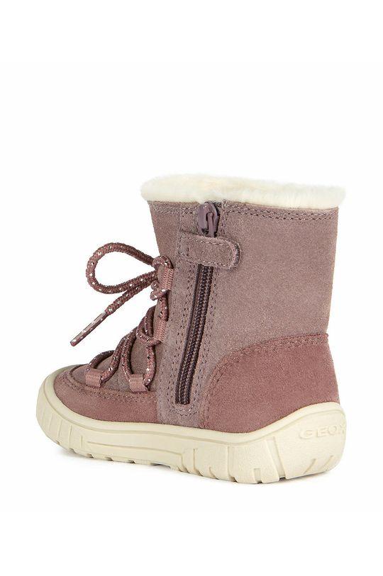 roz Geox - Pantofi din piele intoarsa pentru copii