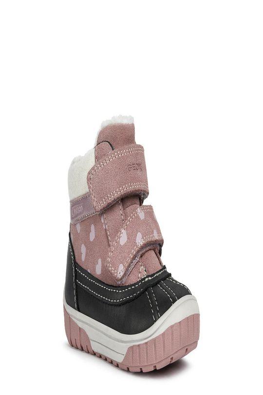 Geox - Dětské semišové sněhule růžová
