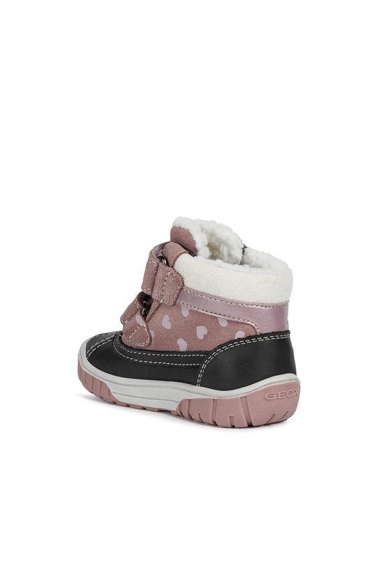 růžová Geox - Dětské semišové sněhule