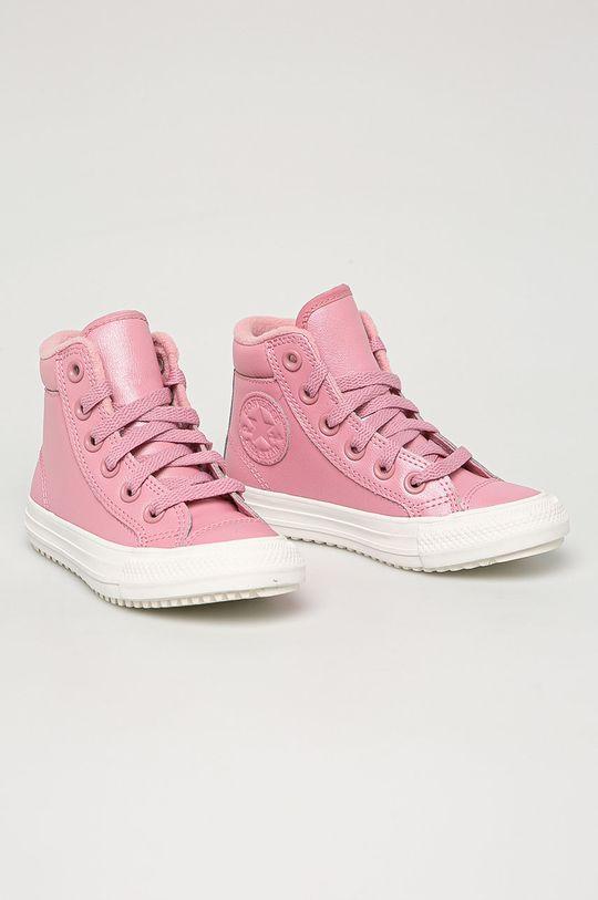 Converse - Dětské kožené kecky růžová