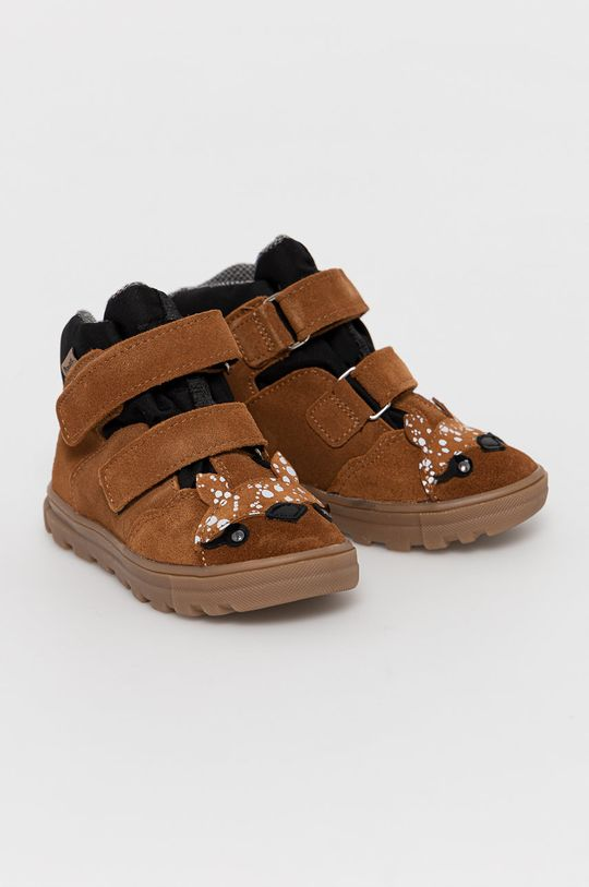 Mrugała - Detské kožené topánky zlatohnedá