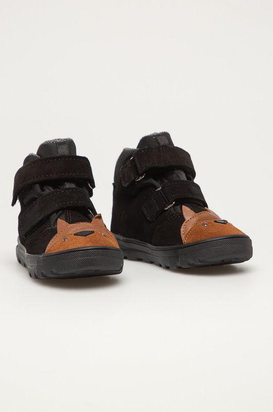 Mrugała - Detské kožené topánky čierna