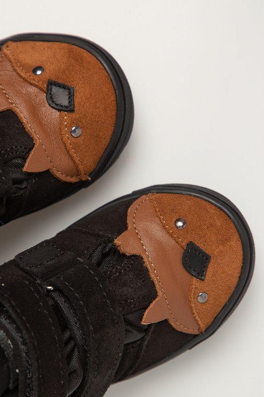 čierna Mrugała - Detské kožené topánky