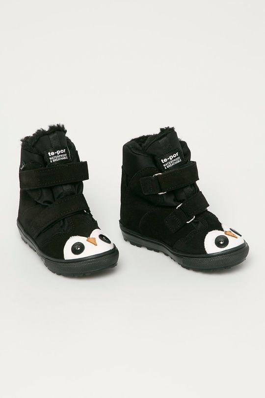 Mrugała - Dětské semišové boty námořnická modř