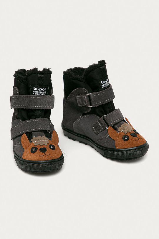 Mrugała - Pantofi din piele intoarsa pentru copii gri