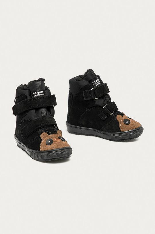 Mrugała - Detské semišové topánky čierna
