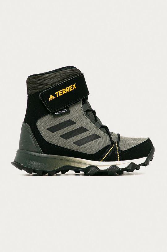 hnedozelená adidas Performance - Detské topánky Terrex Snow CF R.RDY Detský