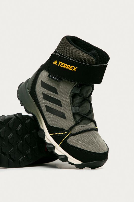 hnedozelená adidas Performance - Detské topánky Terrex Snow CF R.RDY