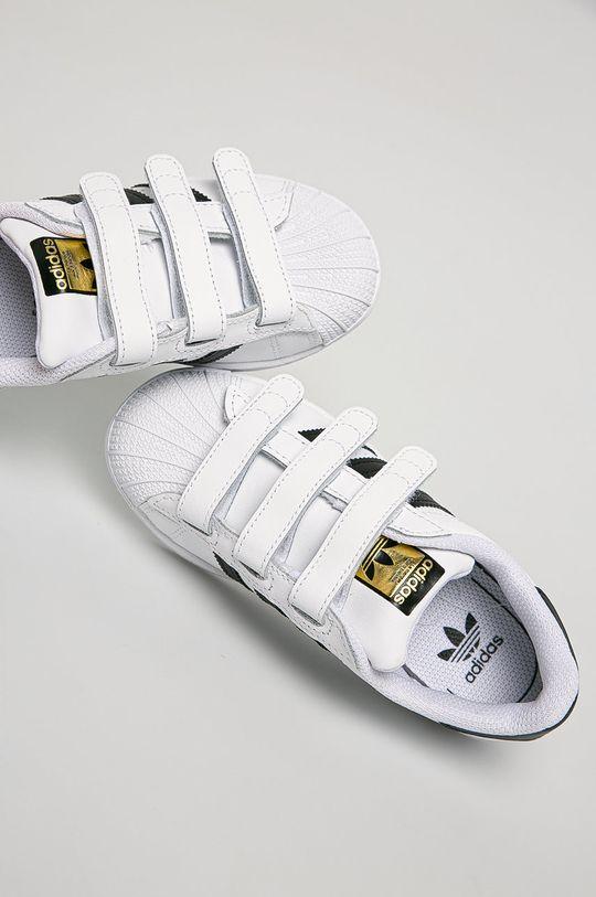 biela adidas Originals - Detské kožené topánky Superstar