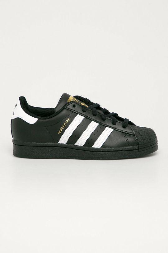 čierna adidas Originals - Kožená obuv Superstar Detský