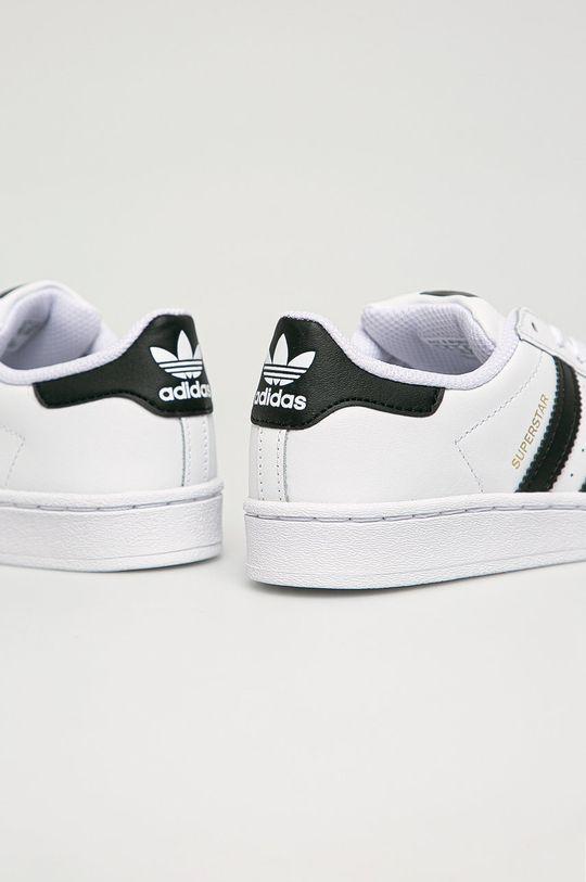 alb adidas Originals - incaltaminte din piele pentru copii Superstar
