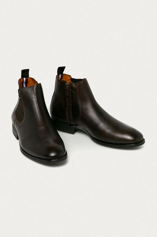 Tommy Hilfiger - Kožené kotníkové boty tmavě hnědá