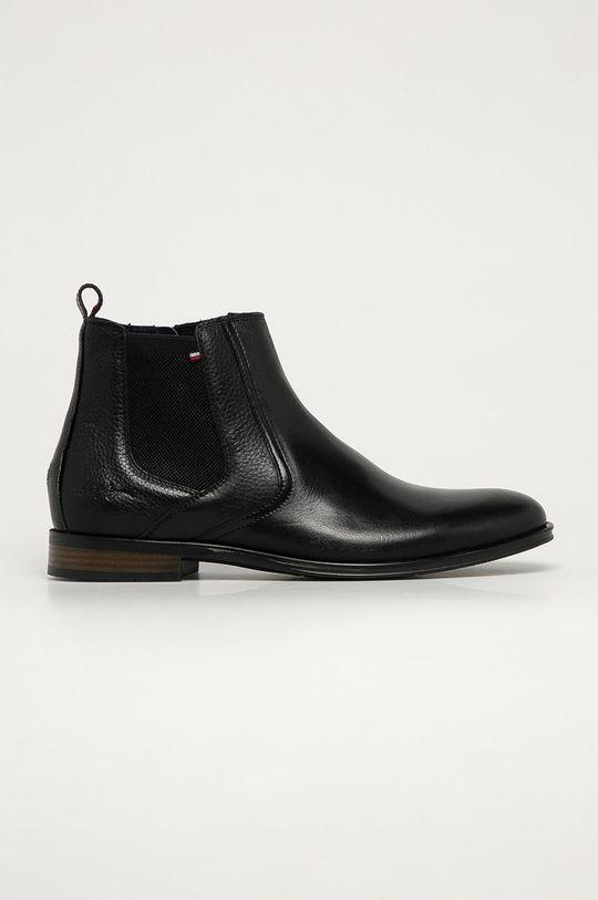 čierna Tommy Hilfiger - Kožené topánky Chelsea Pánsky