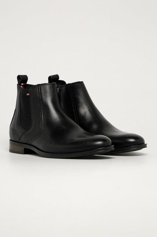 Tommy Hilfiger - Kožené topánky Chelsea čierna