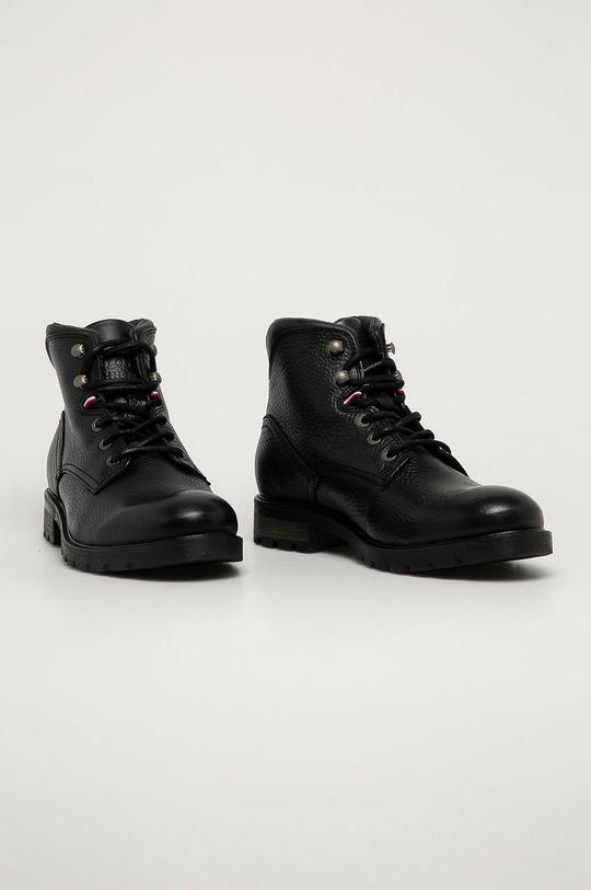 Tommy Hilfiger - Kožené boty černá