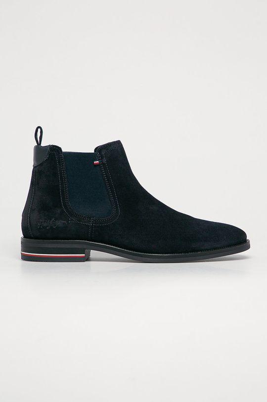 tmavomodrá Tommy Hilfiger - Semišové topánky Chelsea Pánsky