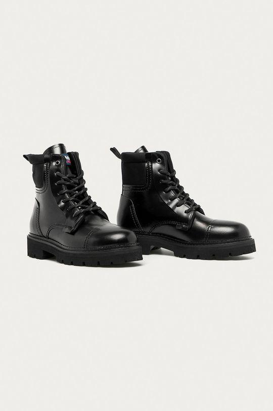 Tommy Jeans - Kožené trapery černá