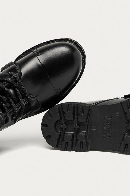 černá Tommy Jeans - Kožené trapery