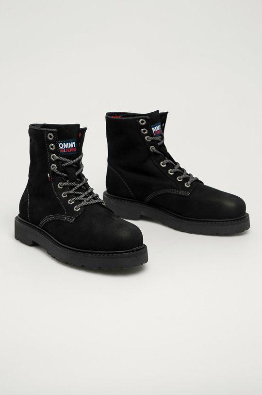 Tommy Jeans - Workery zamszowe czarny