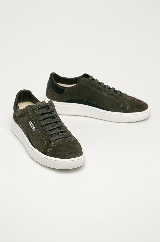 Guess Jeans - Semišové topánky hnedo zelená