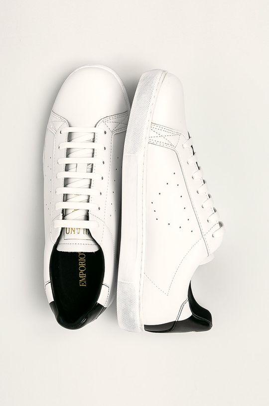 bílá Emporio Armani - Kožené boty