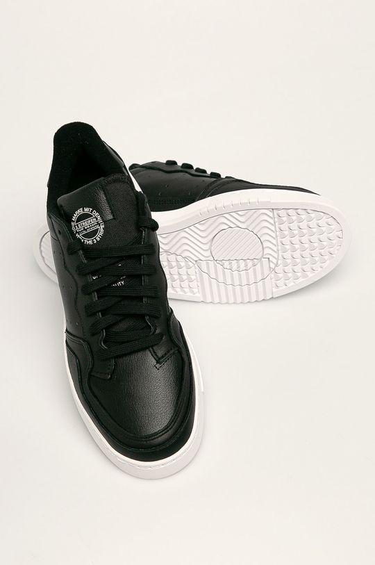 černá adidas Originals - Kožené boty Supercourt