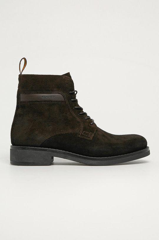 tmavě hnědá Gant - Kožené boty Brookly G46 Pánský