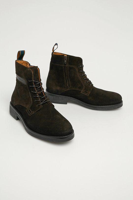 Gant - Kožené boty Brookly G46 tmavě hnědá