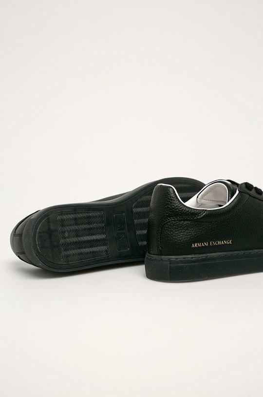 Armani Exchange - Kožené boty  Svršek: potahová kůže Vnitřek: Textilní materiál Podrážka: Umělá hmota