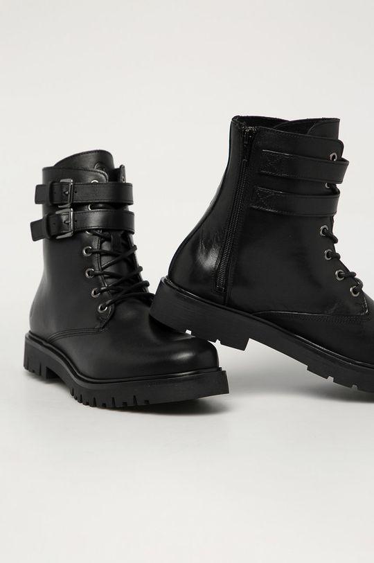Trussardi Jeans - Kožené boty černá
