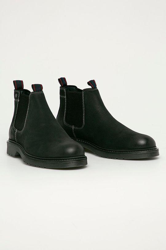 Jack & Jones - Semišové kotníkové boty černá