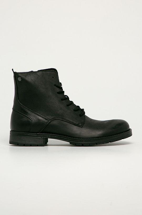 černá Jack & Jones - Kožené boty Pánský