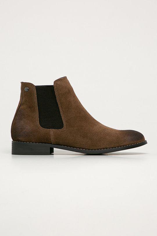 hnedá Jack & Jones - Kožené topánky Chelsea Pánsky