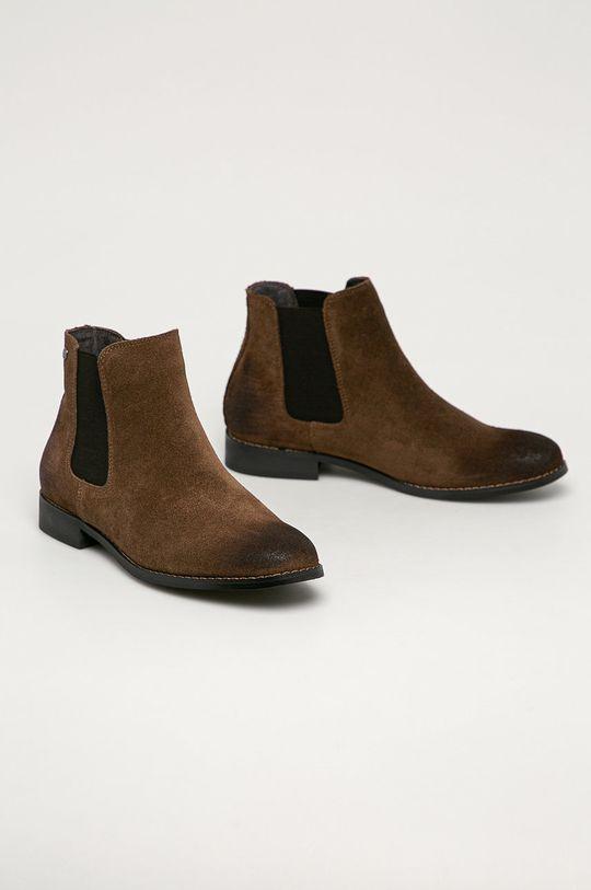 Jack & Jones - Kožené topánky Chelsea hnedá