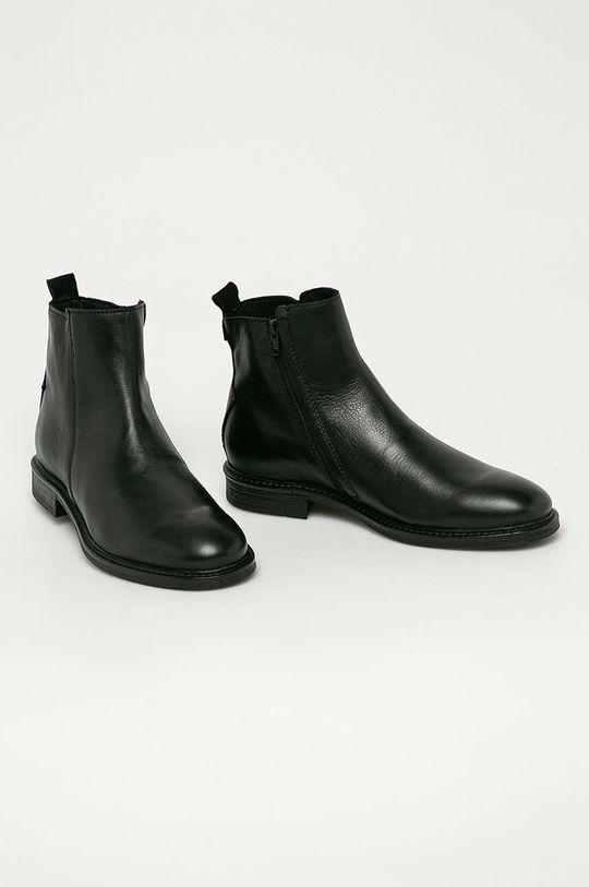Jack & Jones - Kožené boty černá