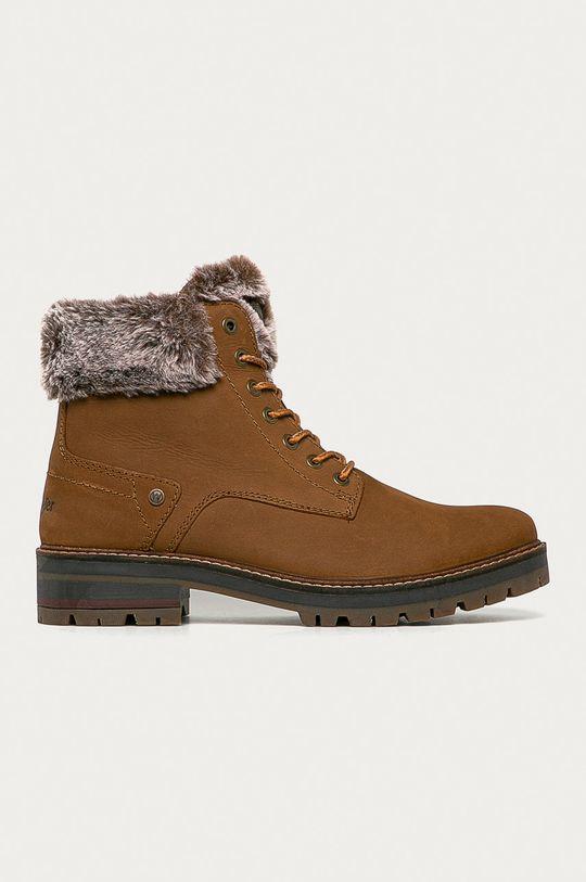 zlatohnědá Wrangler - Kožené boty Pánský