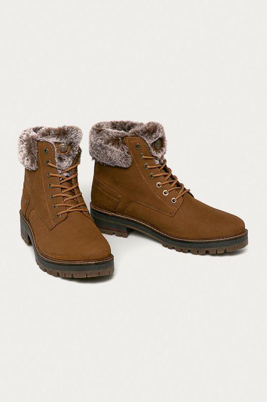 Wrangler - Kožené boty zlatohnědá