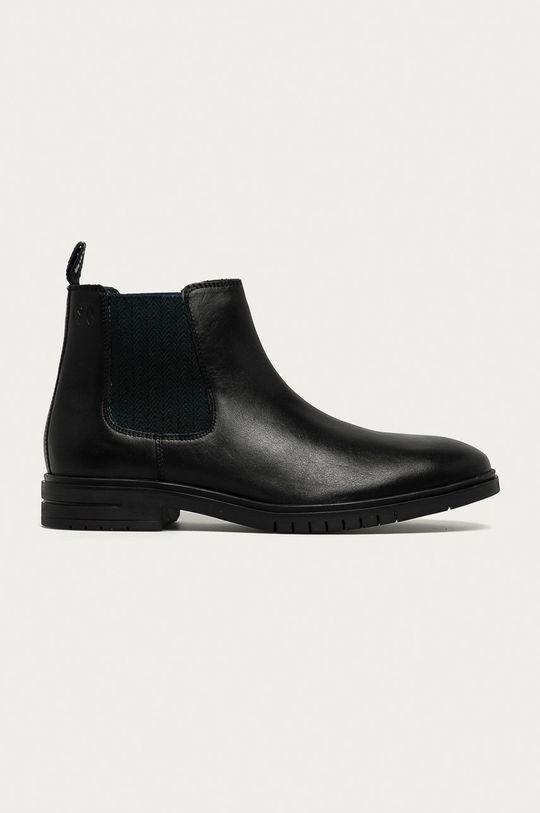 černá s. Oliver - Kožené kotníkové boty Pánský