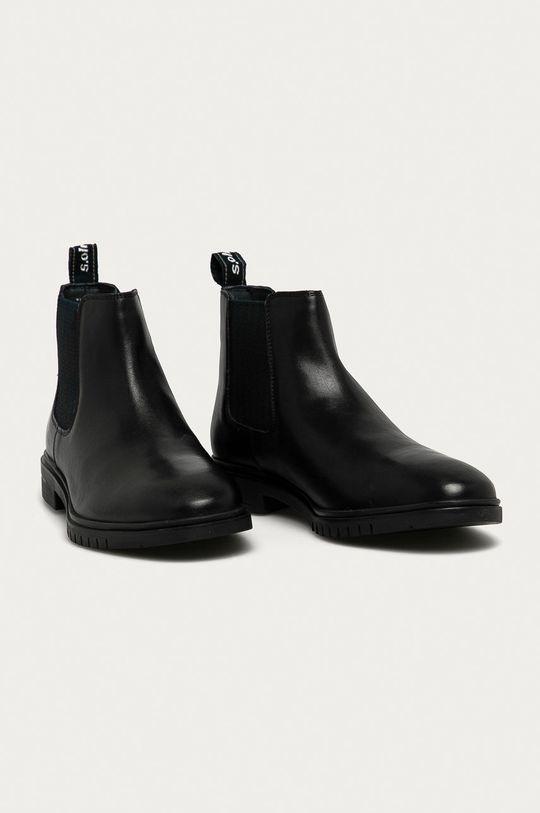s. Oliver - Kožené kotníkové boty černá