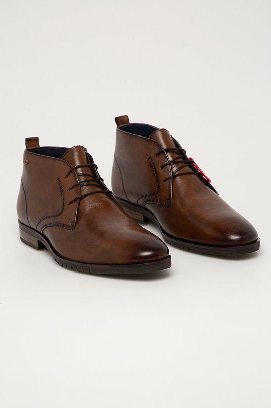 s. Oliver - Kožená obuv tmavohnedá
