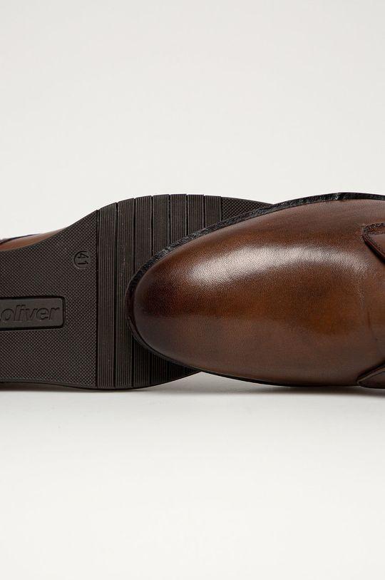 tmavohnedá s. Oliver - Kožená obuv