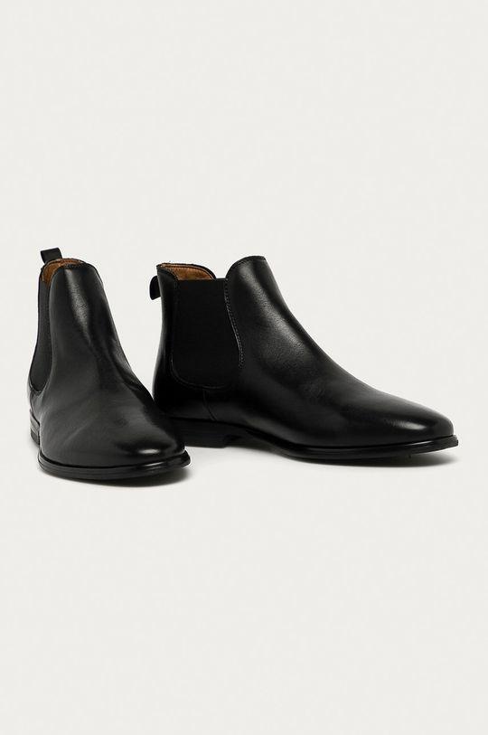 Aldo - Kožené kotníkové boty černá