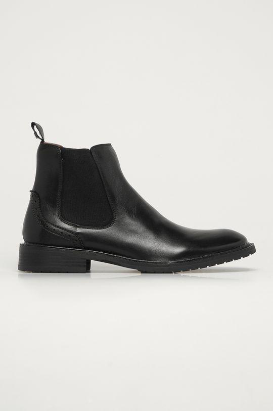 černá Big Star - Kožené kotníkové boty Pánský