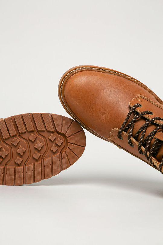 zlatohnedá Big Star - Kožené členkové topánky