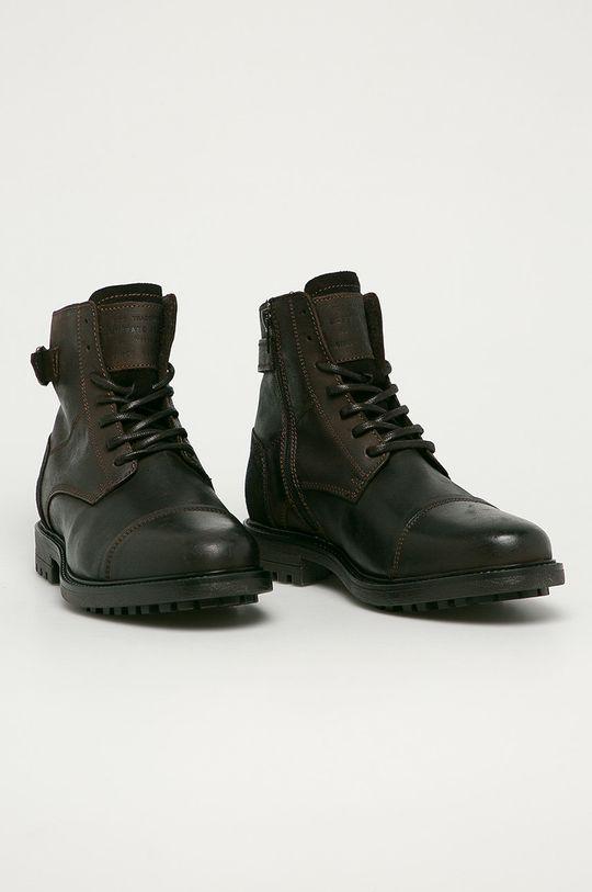 Mustang - Kožené boty tmavě hnědá