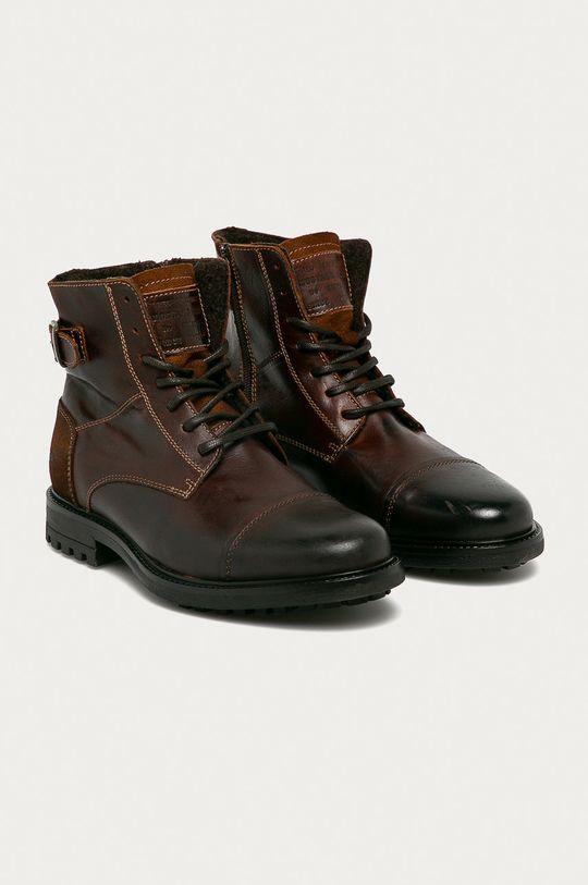 Mustang - Kožené boty kávová