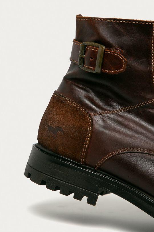 kávová Mustang - Kožené boty