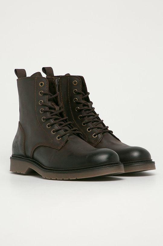 Mustang - Kožené topánky tmavohnedá