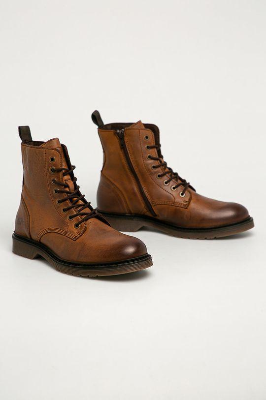 Mustang - Kožené topánky kávová