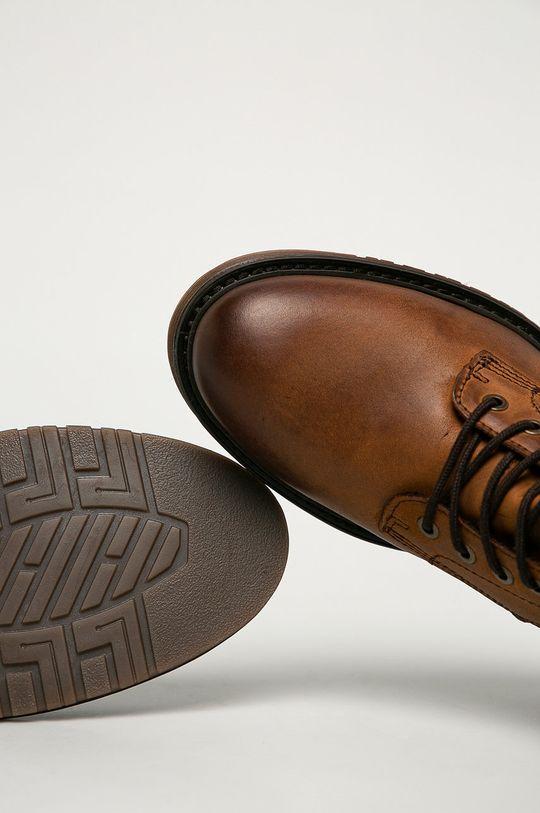 kávová Mustang - Kožené topánky